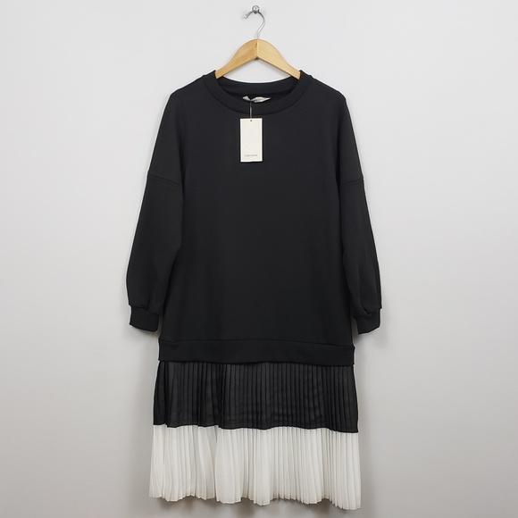 fe39060211c Zara Black Sweatshirt Dress w  Pleated Skirt. NWT